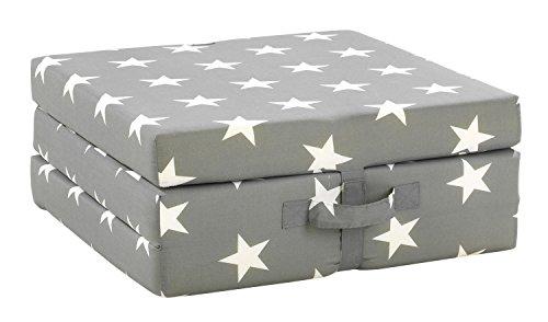 Klappmatratze Faltmatratze Reisebett SAMBA 8 | Grau | Sterne | Polyester | Baumwolle | 70x190 cm
