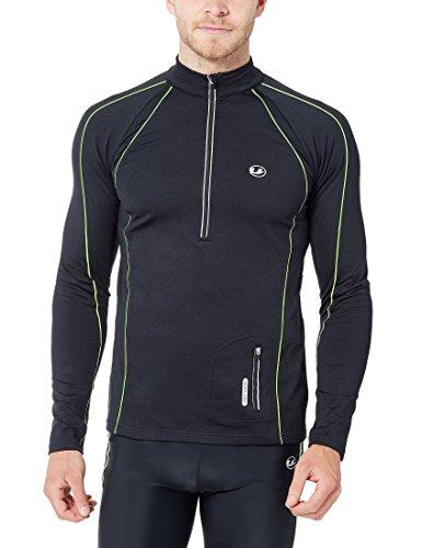 Ultrasport Herren Jimi windabweisendes angerautes Fleece Laufshirt mit Reflektoren und Quick-Dry-Funktion, Schwarz/Neon Gelb, L, 11022