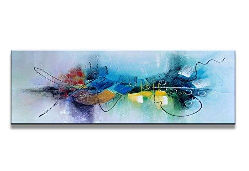 120 x 40 cm Bild auf Leinwand abstrakt blau 5723-SCT deutsche Marke und Lager - Die Bilder / das Wandbild / der Kunstdruck ist fertig gerahmt