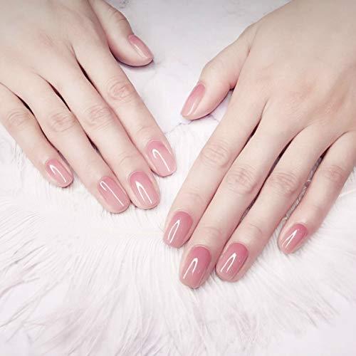 Fingernägel zum aufkleben, 24 Stück Französisch Falsche Nägel, kurz und Square,Künstliche Nägel Sets Drücken Sie auf Gelnägel, 2g Kleber Geschenk, für DIY-Nagelkunst