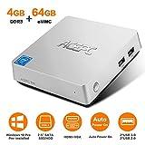 ACEPC T11 Mini PC, Windows 10 Pro 4GB RAM/ 64GB eMMC Intel Atom x5-Z8350 Prozessor Desktop Computer mit VGA& HDMI Anschlüssen, Dual Band WLAN, BT 4.2, 4K HD, VESA Halterung, SATA für 2,5 Zoll HDD/SSD