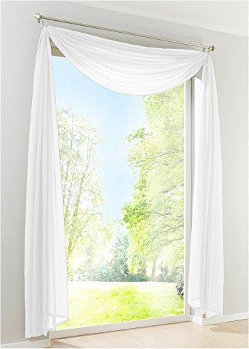 EZ GLAM Voile Querbehang Transparent Freihanddeko Gardinen 1PC Schals (H*B 145*500cm, Weiß)