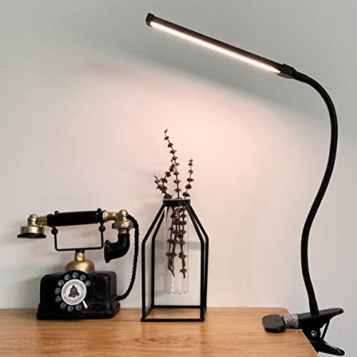 LED Klemmleuchte Dimmbar Leselampe klemmen Bett Schreibtischlampe mit 3 Modi (10 Helligkeitsstufen), USB-Leselampe mit Augenschutz, 360 ° Flexibler Schwanenhals Clip Tischlampe (Schwarz)