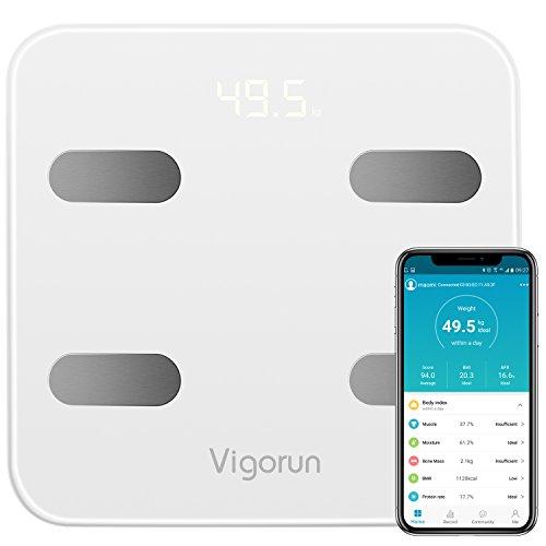 Digitale Personenwaage Vigorun Bluetooth Körperfettwaage mit App Intelligent Körperwaage Analyse von 17 Body-Indizes, für Gewicht Körperfett Muskelmasse BMI BMR Protein Wasser, bis 180kg