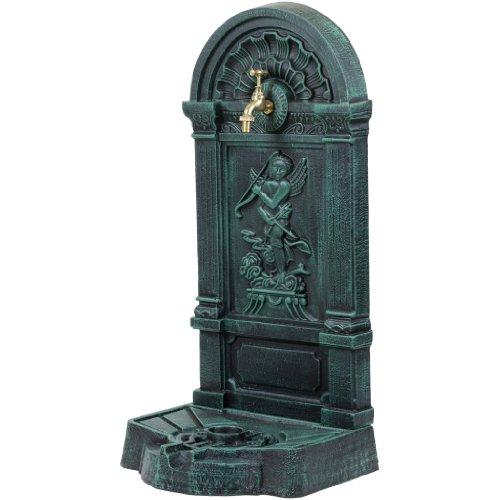 Standbrunnen aus Gusseisen mit Wasserhahn, 76x35x30cm, 22,5kg schwer Springbrunnen dunkelgrün/schwarz, Wandbrunnen