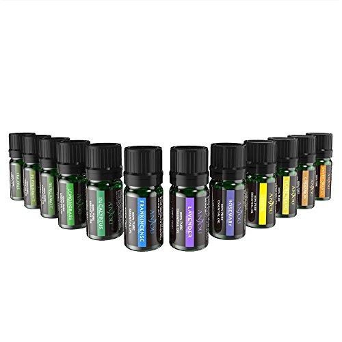 Anjou Ätherisches Öle Set (12 x 5 ml Öle; mit 100 % Pur Lavendel, Süßer Orange, Teebaum, Eukalyptus, Lemongras, Pfefferminz, Bergamotte, Weihrauch, Zitrone, Rosmarin, Zimt und Ylang-Ylang)