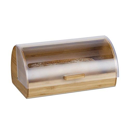 Relaxdays Rollbrotkasten Bambus, groß, aromadicht, Brotkasten klappbar mit Rolldeckel, HBT: 19 x 38 x 26 cm, Holz, natur
