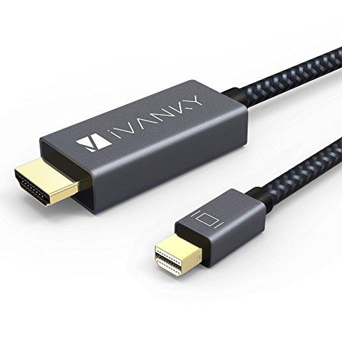 Mini DisplayPort auf HDMI Kabel iVANKY Nylon 2M Thunderbolt auf HDMI Kabel (Fortschrittliche Chip-Lösung, mit praktischem Kabelbinder) 1080P für MacBook Air / Pro, Surface Pro, Monitor, Projektor und weiter