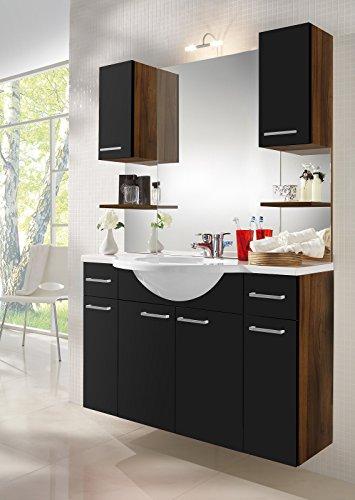 Badmöbel inkl. Waschbecken und vielen Schränke in walnuß-schwarz; Maße: 111x51x169