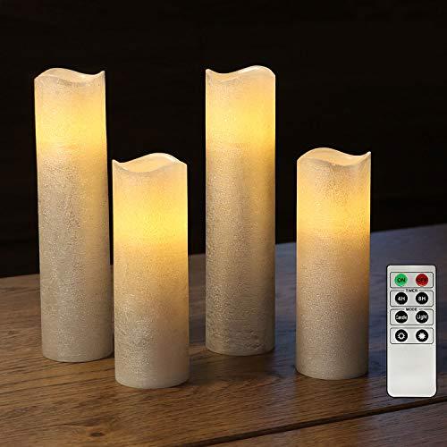 Rhytsing 4 flammenlose LED Wachskerzen Sliber Metallicfinish Rustik-Design mit Fernbedienung und Timerfunktion, Inklusive Batterien