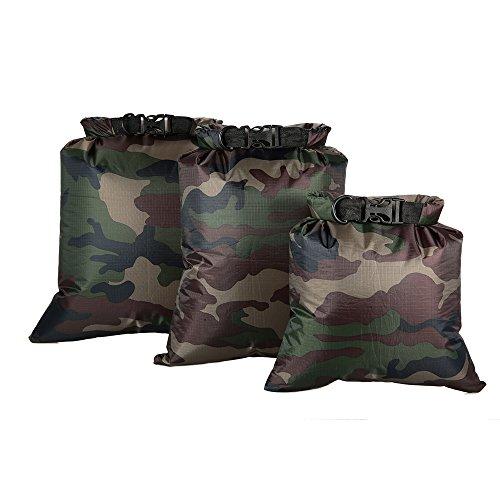 Lixada 3ST Wasserdichte Tasche(3L + 5L + 8L) für Camping Wandern Reisen, Hochwertiges Ripstop Polyestergewebe