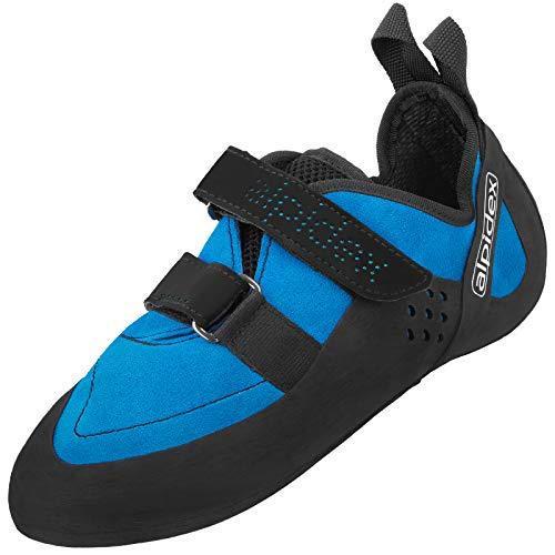 ALPIDEX Kletterschuhe für Damen und Herren mit Klettverschluss und Vibramsohle XS Edge, asymmetrisch, mit Vorspannung, erhältlich in den Größen 36-49