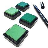 KATINGA Stempelkissen (6er Set) Blau INKL. Stift für Fingerabdrücke, Zum Basteln und Zum kreativen Gestalten