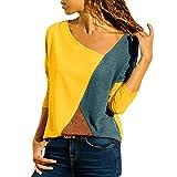 MRULIC Damen Kurzarm T-Shirt Rundhals Ausschnitt Lose Hemd Pullover Sweatshirt Oberteil Tops (EU-48/CN-4XL, A-Gelb)