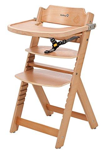 Safety 1st Timba Mitwachsender Hochstuhl, abnehmbares Tischchen, aus massivem Buchenholz, hohe Rückenlehne, ab ca. 6 Monate bis ca. 10 Jahre, max. 30 kg, buchenholz