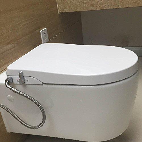Hibbent Bidet, WC-sitz mit Absenkautomatik Toilettenaufsatz mit Frischwasserspray und Selbstreinigender Doppelt Düse Nicht Elektrisch