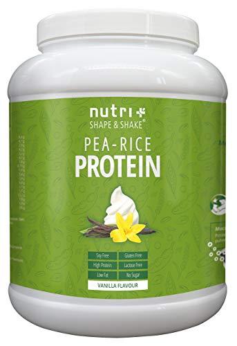 VEGANES EIWEIßPULVER sojafrei - Vanille 1kg - Proteinpulver ohne Gluten, Laktose, Zucker - Nutri-Plus Erbsenreis-Protein - Eiweiß Pulver Vegan - In Deutschland hergestellt