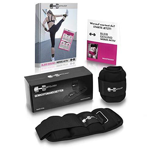 BEASTOLOGY Gewichtsmanschetten Fuß schwarz – Premium Laufgewichte 2x1kg – Gewichte für Beine, Arme, Hand aus hochwertigem Material – inklusive E-Book – Manschetten geeignet für alle Sportarten