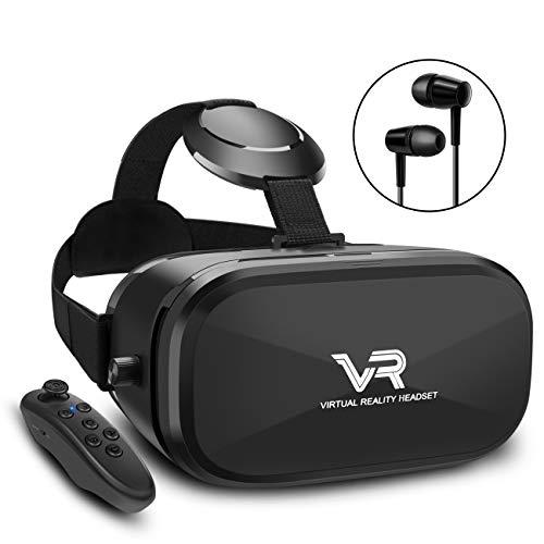 3D VR Brille, YEMENREN HD Virtual Reality 3D VR Headset mit Bluetooth Controller, für Android Smartphone iPhone (Schwarz)