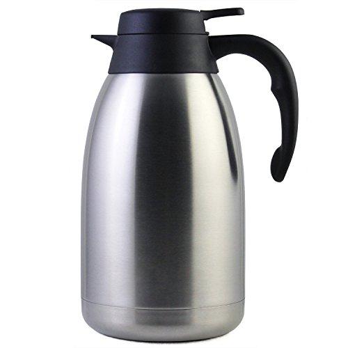 2 Liter Edelstahl Thermoskanne, Teekanne, Kaffeekanne, und Isolierkanne mit 12 Stunden Wärmespeicherung - doppelwandige Vakuum Tee und Kaffee Thermokanne - 2L Isolier Kanne von Cresimo
