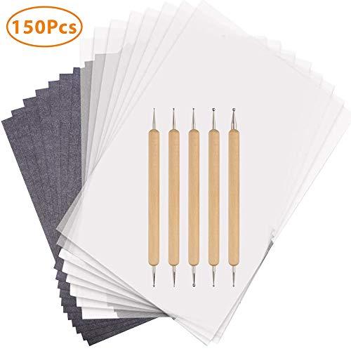 150 Blatt Carbon Transferpapier Copy Paper Schwarzem Pauspapier mit 5 PCS Embossing Stylus für das Aufspüren von Holz