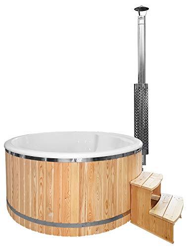 Sell-tex GmbH Badebottich 200cm Fiberglas Einsatz fertig montiert, mit Außenofen - Badefass