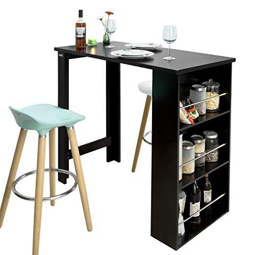 SoBuy FWT17-SCH Bartisch schwarz Küchentisch mit 3 Regalfächern Stehtisch Tresen Theke, BHT ca.: 112x106x57cm