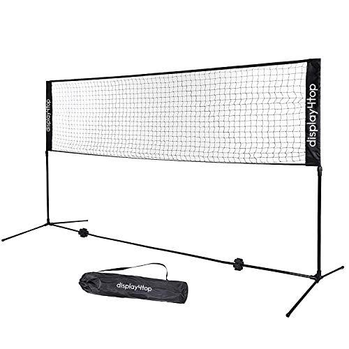 Display4top Tennisnetz 5m Verstellbares, faltbares, tragbares BadmintonNetz für Tennis, Pickleball, Kinder-Volleyball - Einfaches Aufbau-Nylon-Sportnetz mit Stäben