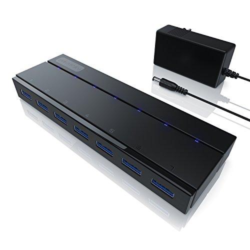 CSL – USB 3.0 Hub mit Netzteil | aktiver 7 Port Verteiler | inkl. 1x 12V/3A DC-Hohlsteckernetzteil | für PC / Notebook / Laptop / Ultrabook / Tablet PC / Macbook | Super Speed bis zu 5 Gbit/s