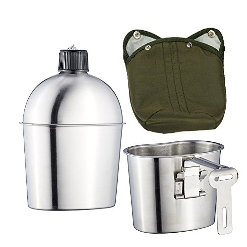 Pinty 1L Feldflasche Feld Flasche Wasserflasche Trinkflasche Trinkbecher mit Stofftasche Militär Kochgeschirr Camping Wandern Outdoor Überleben Edelstahl