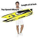 27,5-Zoll-Fernbedienung Boat Speedboat Racing S011 RC Boot 65 km Brushless Motor Ausgezeichnete Eigenschaften für Hobbys Erwachsene Jungen, gelb / rot nach dem Zufallsprinzip verschickt