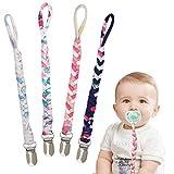 Schnullerkette Baumwolle Schnullerband Baby Schnullerketten für Neugeboren Mädchen und Jungs Lätzchen Dreieckstuch Sauger Schnuller 4 Stücke #MC1