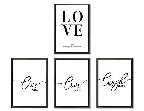 Hometastic 4 Premium Poster im Set | Bilder für Wohnzimmer und Schlafzimmer | Wandbild, Kunstdruck mit Spruch in schwarz weiß ohne Bilderrahmen | Dekoration | Modern | DIN A4 | (Set 7)