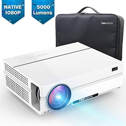 TOPVISION 5000 Lumen Projector, Native 1080p (1920 x 1080) LED Video Beamer tragbarer Full HD, unterstützt HDMI USB SD VGA AV Laptop, für Office Powerpoint Präsentationen Heimkino