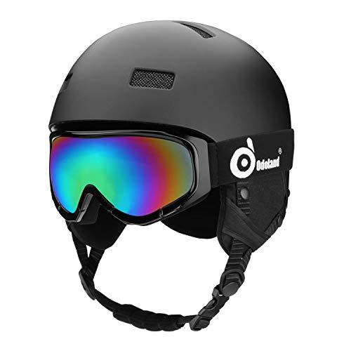 Odoland Kinder und Erwachsene Skihelm Schneehelm mit Skibrille für Erwachsene und Jugendliche, EN1077 Zertifizierter Skihelm für Skating Skating Snowboarding