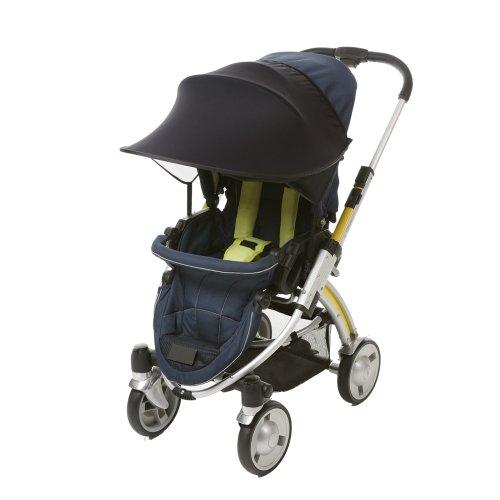 [Manito] New Sunshade / Sonnenschirm für Kinderwagen, Sportkinderwagen und Autositz, Weitsonnenschutz, UV-Cut, Universal und einfache Installation (Black)