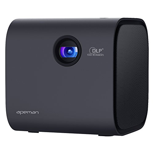 APEMAN Mini Tragbarer Beamer mit Verbessertem DLP, Bluetooth V4.2 Lautsprecher, 1080P Multi-Screen Funktion, eingebauter Batterie und kontrastreicher LED Lebensdauer bis 30000 Stunden (Schwarz)