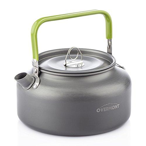 Overmont Tragbar Aluminium Camping Wasserkocher Kessel Teekanne Kaffeekanne für Outdoor Picknick Wandern 1,2I