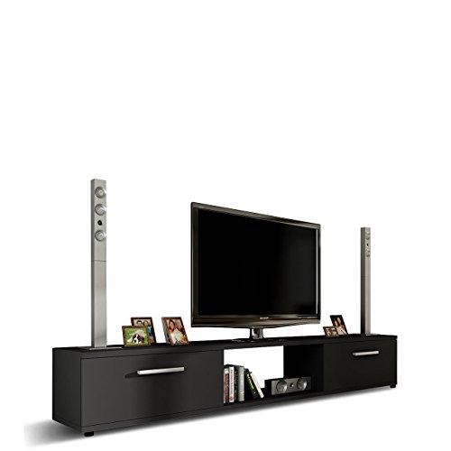 TV Lowboard Board Horton I, TV Schrank, Tisch, Fernsehtisch B:176 cm, H:28 cm, T:40 cm, Fernsehschrank TV-Bank (Schwarz)