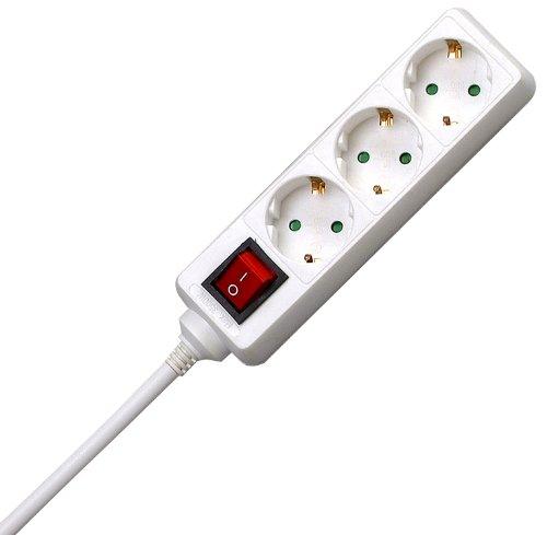Kopp 129713007 3-fach Steckdosenleiste Standard, mit beleuchtetem Schalter, weiß