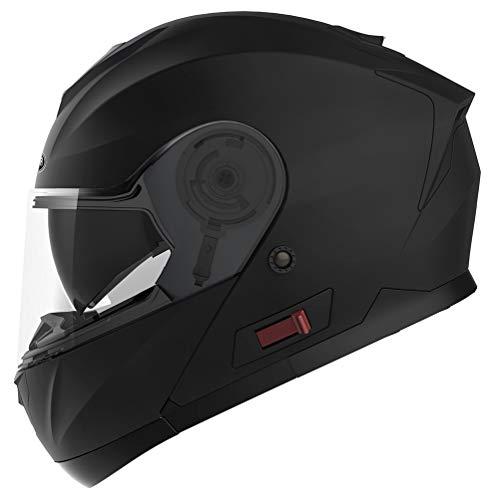 Motorradhelm Klapphelm Integralhelm Fullface Helm - Yema YM-926 Rollerhelm Sturzhelm mit Doppelvisier Sonnenblende ECE für Damen Herren Erwachsene-Schwarz Matt-XL