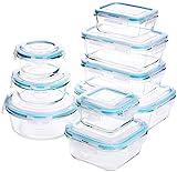 Glas-Frischhaltedosen – Glasbehälter - 18 Stück (9 Behälter + 9 Deckel) - Transparente Deckel - BPA frei - für Home Küche oder Restaurant - von Utopia Kitchen