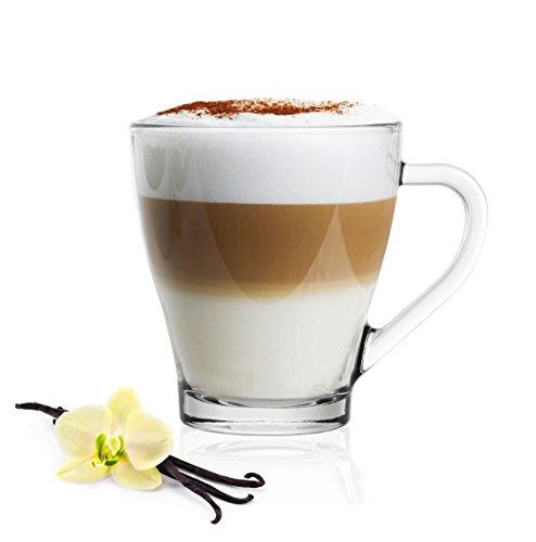 6 Cappuccinogläser mit Henkel und 6 Edelstahl-Löffeln (gratis) Kaffeegläser Teegläser Cappuccino Latte Macchiato