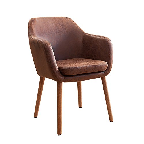 Massiver Design Stuhl SUPREME vintage braun Massivholz Armlehnstuhl Esszimmerstuhl Esszimmer Sessel mit Armlehnen Massivholzbeine