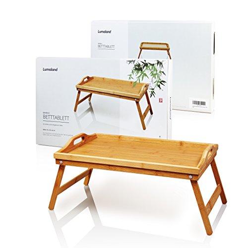 Lumaland Betttablett Tablett aus Bambus mit naturfarbenem Boden, Tragegriffen und herausklappbaren Füßen, ca. 50 x 31 x 23 cm
