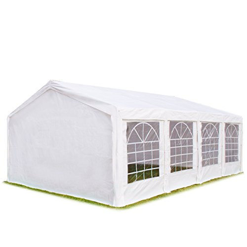 Hochwertiges Partyzelt 4x8 m Pavillon Zelt 240g/m² PE Plane Gartenzelt Festzelt Bierzelt Wasserdicht! weiß
