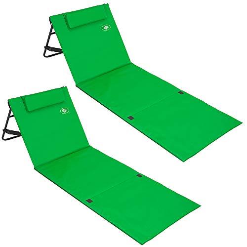 Deuba 2X Strandmatte | Faltbar Gepolstert Kissen Verstellbare Rückenlehne Staufach Badematte Isomatte Strandtuch Grün