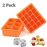 2 Stück Eiswürfelform silikon Eiswürfelbehälter Eiswürfel Silikonformen für Eiswürfel Schokolade Kindernahrung Orange