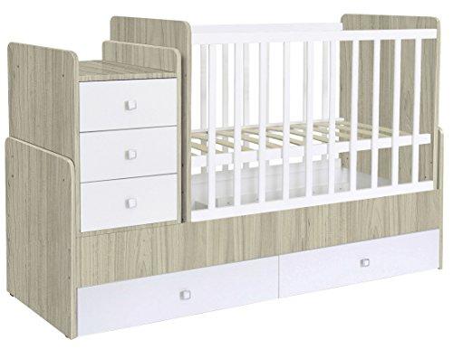 Polini Kids Kombi-Kinderbett Simple 1100 mit Kommode ulme-weiß,1227.41