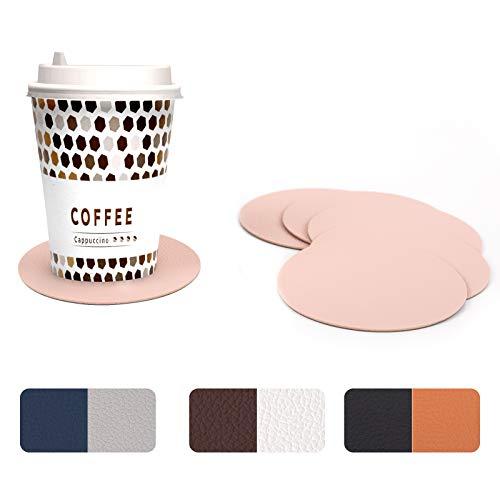 WOLTU Untersetzer rund zweifarbig aus PU Leder, 6er Sets Tischuntersetzer in Grau+Rosa (Farbe wählbar), Glasuntersetzer beidseitig nutzbar für Gläser, Tassen usw, Ihren Tisch vor Flecken schützen